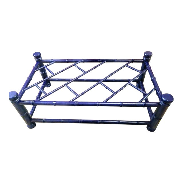 Palm Beach Regency Faux Bamboo Chippendale Painted Gloss Navy Blue Rectangular Coffee Table For Sale