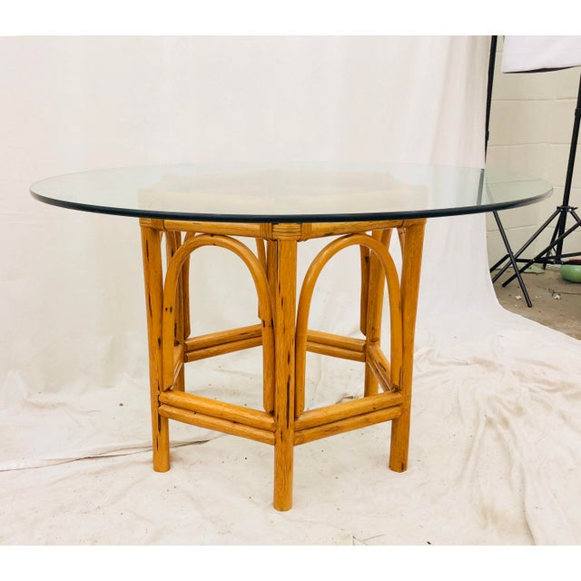 Vintage Bent Rattan & Glass Table For Sale - Image 11 of 12