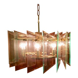 Large Mid-Century Modern Glass Chandelier by Forecast Lighting of California For Sale