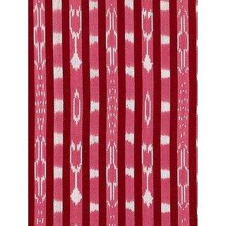 Sample, Scalamandre Jakarta Ikat Stripe, Raspberry Fabric For Sale