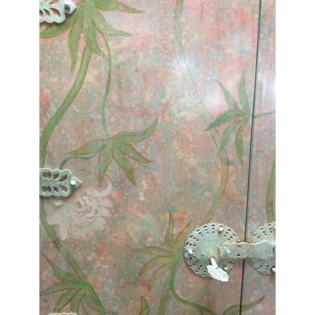 Asian Style Floral Armoire For Sale In West Palm - Image 6 of 8