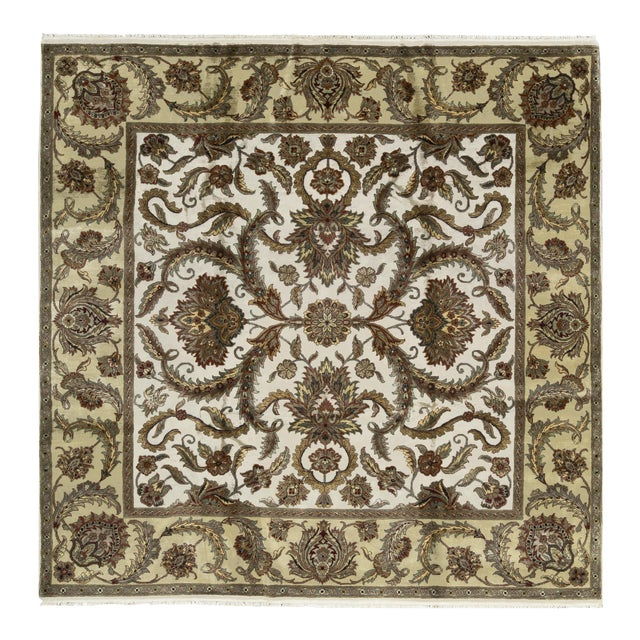 Traditional Hand Woven Wool Square Rug 9'2 X 9'2 For Sale