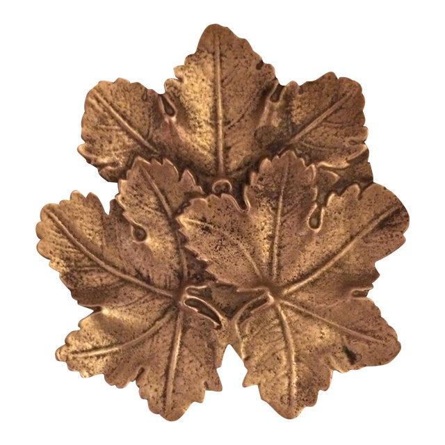 Solid Brass Maple Leaf Dish - Image 1 of 5