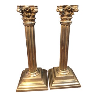 Vintage Brass Corinthian Column Candle Holders - a Pair For Sale