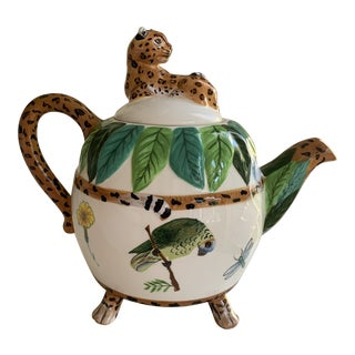 Lynn Chase Ceramic Jungle Jubilee Tea Pot With Cheetah Lid For Sale