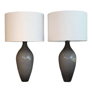 A Pair Of Dove Gray Murano Glass Table Lamps. For Sale