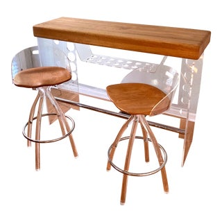 Late 20th Century Modern Lucite and Oak Bar Set - 3 Pieces For Sale