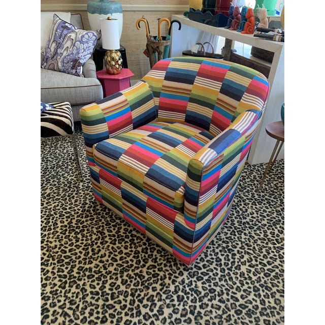 Contemporary St. Frank Fabric Swivel Club Chair For Sale - Image 3 of 4