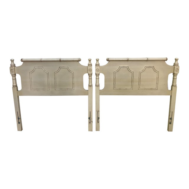 Faux Bamboo Pagoda Twin Headboards- a Pair For Sale
