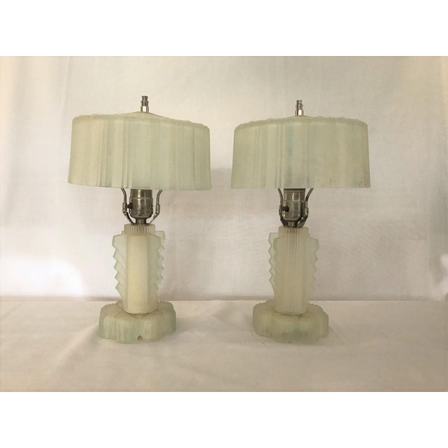 Stunning Pair of Art Deco Lalique Glass Lamps Nickle Finials A Touch of Blue Perimeter. A Petite Statement to Any Home --...
