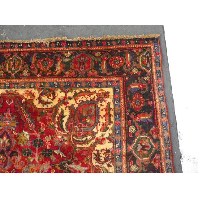 Textile Vintage Red Floral Design Persian Rug - 7′ × 9′ For Sale - Image 7 of 9