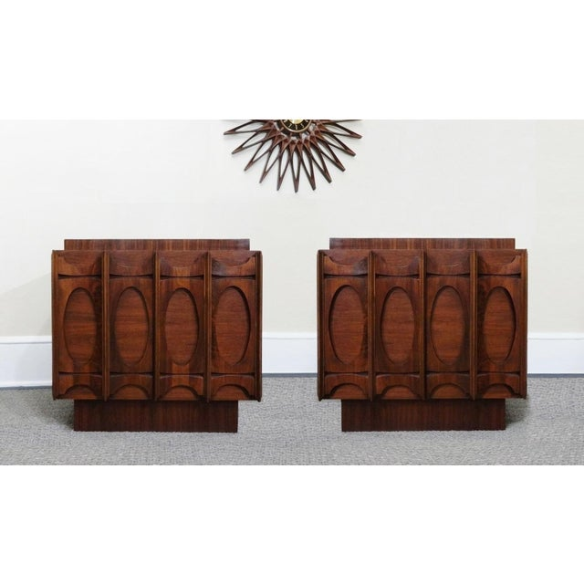 Mid-Century Lane Brutalist Style Walnut Nightstands - A Pair - Image 2 of 4
