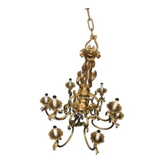 Classical Solid Brass 9 Light Chandelier For Sale