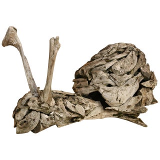 Large Antique Driftwood Snail Sculpture For Sale