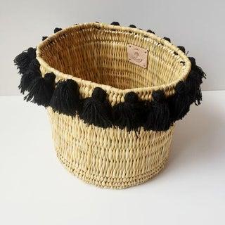 Moroccan Large Black Tassel Basket Preview