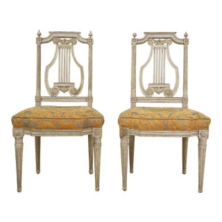 19th Century Italian Painted Lyre-Back Chairs with Fortuny Seat Cushions- A Pair For Sale