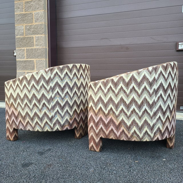 Cream Milo Baughman for Founders Three Legged Barrel Chairs - a Pair For Sale - Image 8 of 13