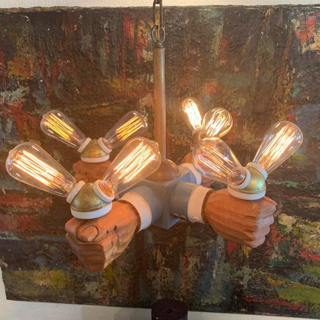 Folk Art Antique Wooden Hands Chandelier For Sale - Image 3 of 10