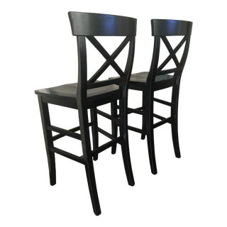 Black Wooden Bar Height Stools - A Pair For Sale