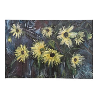 Original Still Life Painting of Sunflowers on Stretched Canvas #8 For Sale