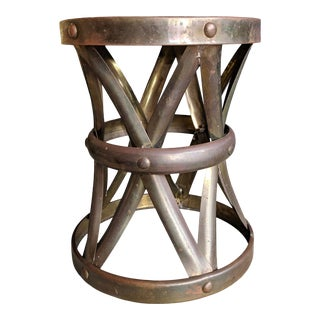 Midcentury Regency Brass Drum Stool For Sale