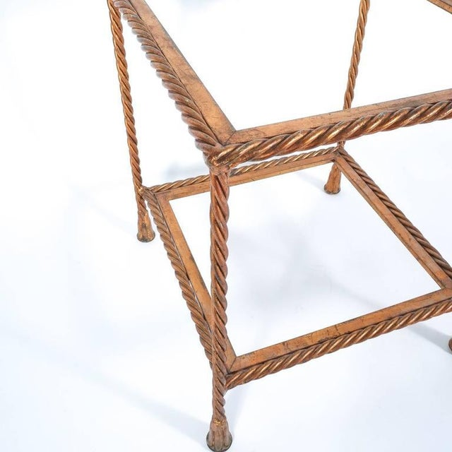 Pair of Golden Iron Rope Side Tables, Attributed Maison Jansen, France, 1950 For Sale - Image 5 of 7