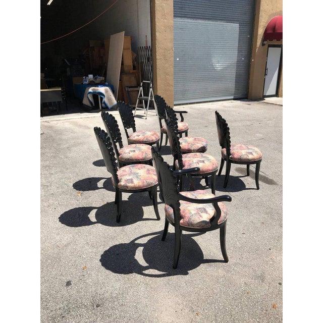 Ebony 1940s Vintage Italian Ebonized Venetian Grotto Shell Back Dining Chairs- Set of 8 For Sale - Image 7 of 13