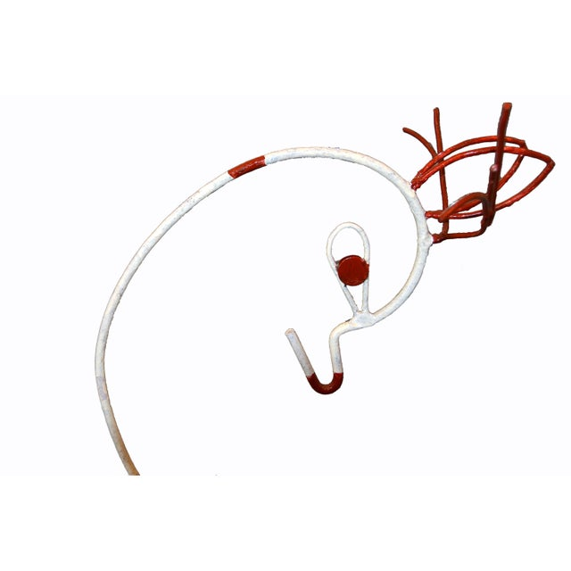 Frederick Weinberg Frederick Weinberg Mid-Century Modern White & Red Iron Deer Sculptural Planter For Sale - Image 4 of 12