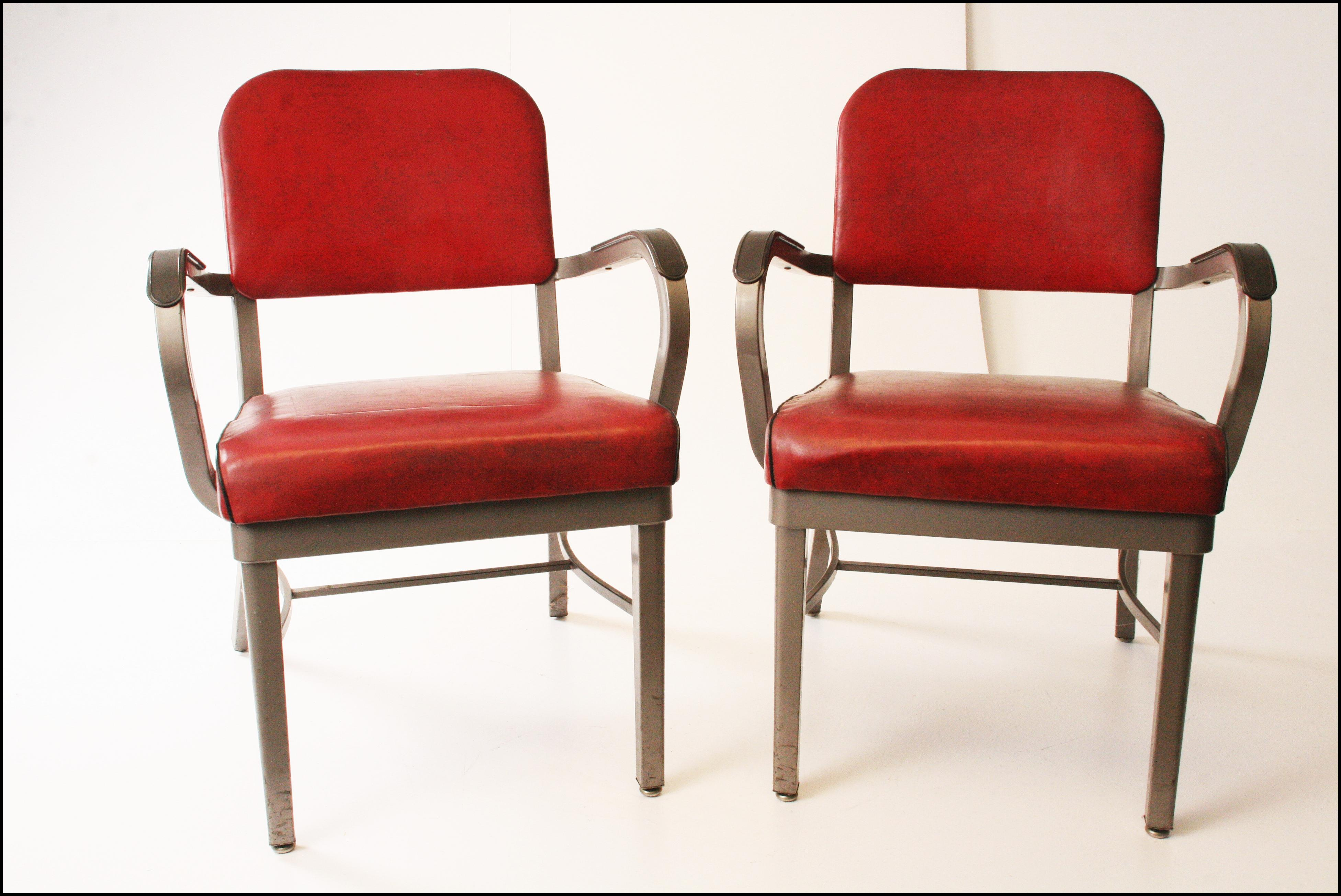 Industrial Vintage Industrial Stylex Office Red Armchairs   A Pair For Sale    Image 3 Of