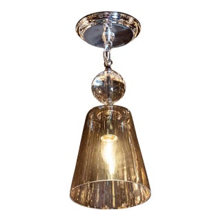 Mid-Century Modern Smoked Glass Pendant With Chrome Fittings For Sale