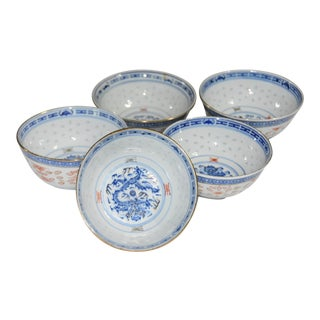 Chinese Porcelain Rice Wear Dragon Gold Gilded Rim Rice Bowls - Set of 5 For Sale