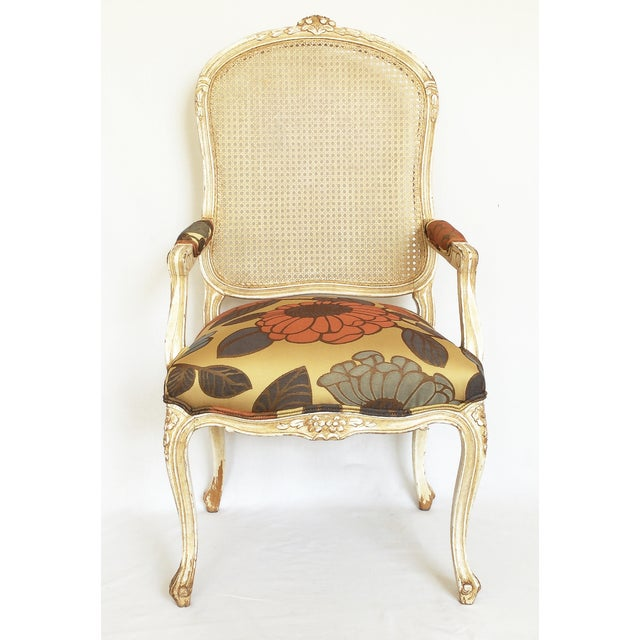 French Vintage French Carved Cane Back Arm Chair For Sale - Image 3 of 6