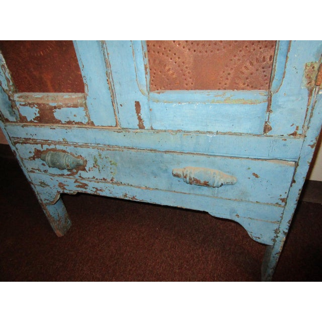 19th Century American Primitive Southern Pie Safe With Distressed Blue Paint For Sale - Image 4 of 13