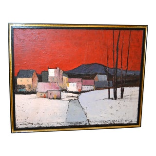 Original Framed Large Oil Painting on Canvas by Canadian Artist A.M. Roberts For Sale