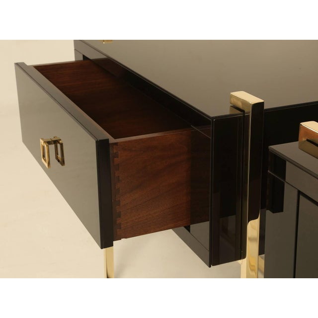 2010s Custom Black Glass and Brass Nightstands - a Pair For Sale - Image 5 of 7