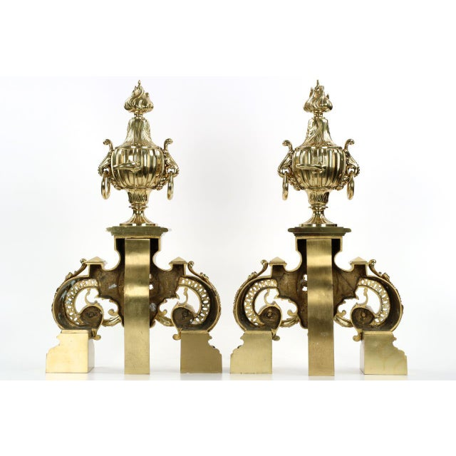 19th Century F. Barbedienne Louis XVI Style Brass Chenets Andirons - A Pair For Sale - Image 10 of 11