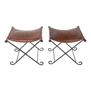 1940s Art Deco Leather Seated Iron X Benches - a Pair
