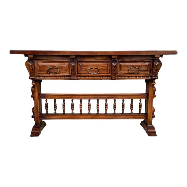 Baroque Console Table in Walnut With Three Carved Drawers and Stretcher For Sale