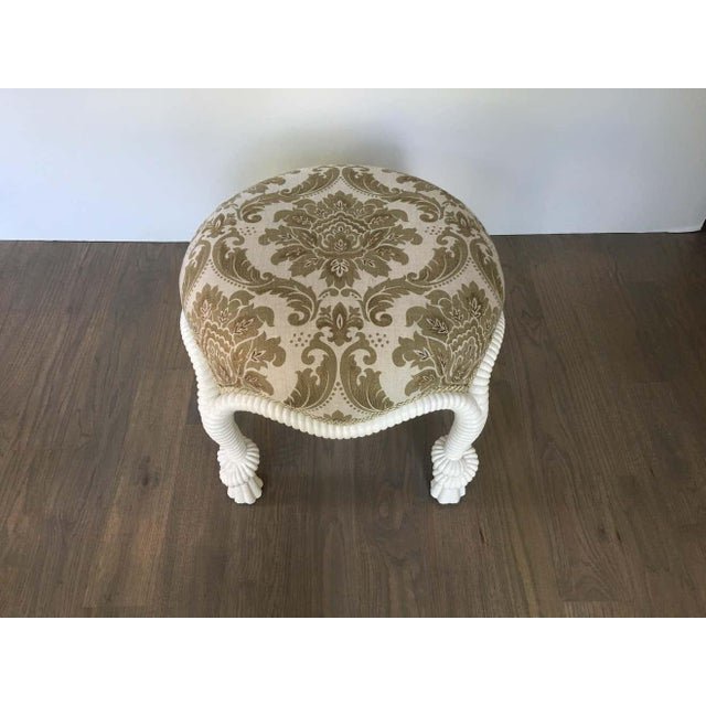 White 20th Century Napoleon III Style Lacquered Rope Twist Upholstered Tabouret For Sale - Image 8 of 9