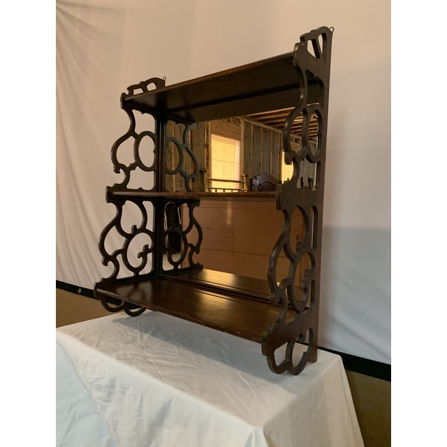 American Antique Chippendale Carved Mahogany 3 Tier Wall Hanging Display Rack For Sale - Image 3 of 12