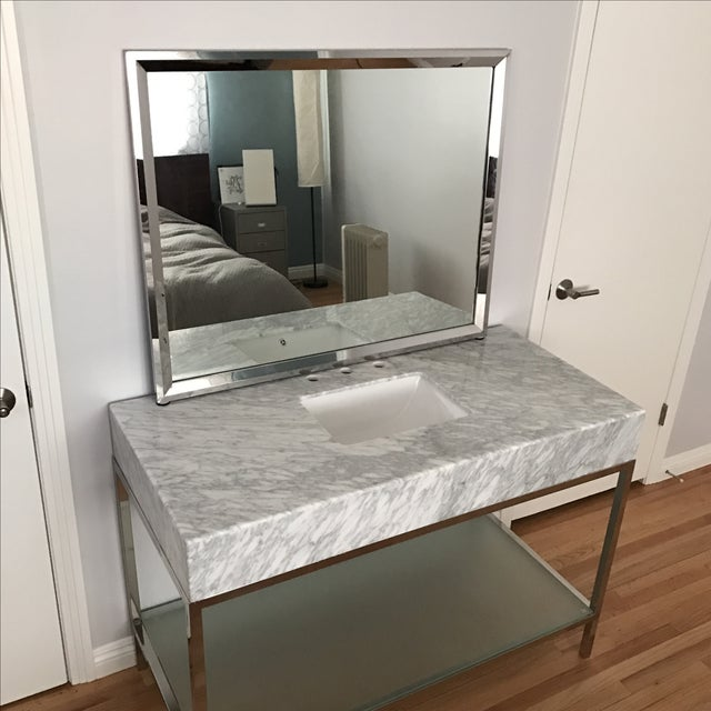 Mid-Century Modern Marble Bathroom Vanity with Chrome Mirror For Sale - Image 5 of 9