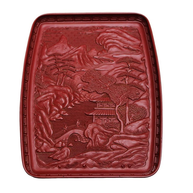 Red Japanese Tray - Pagoda Landscape Scene - Image 1 of 4