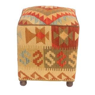 Cinthia Tan/Rust Kilim Upholstered Handmade Ottoman