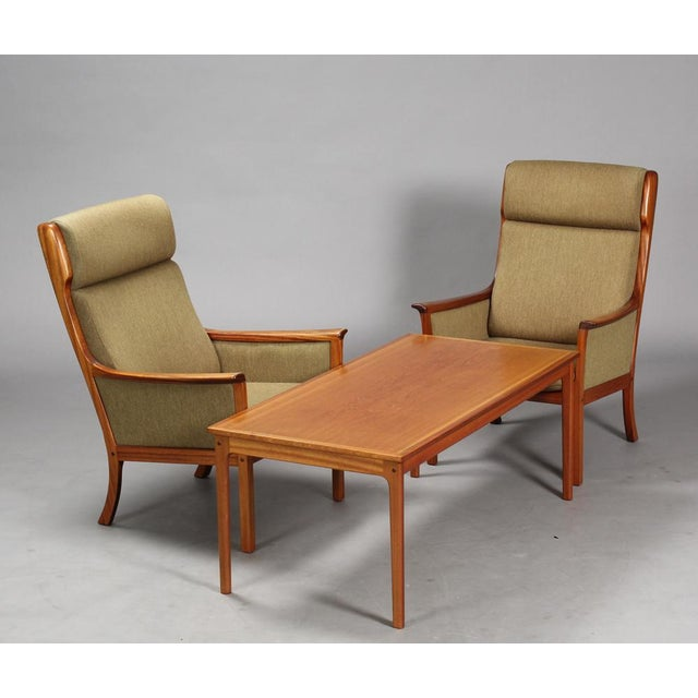 Green 1960s Danish Modern Ole Wanscher for P. Jeppesen Mahogany Armchairs and Coffee Table - 3 Pieces For Sale - Image 8 of 8