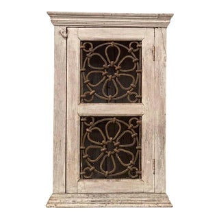 1940s Vintage Distressed Cabinet With Metal Scrollwork Door For Sale