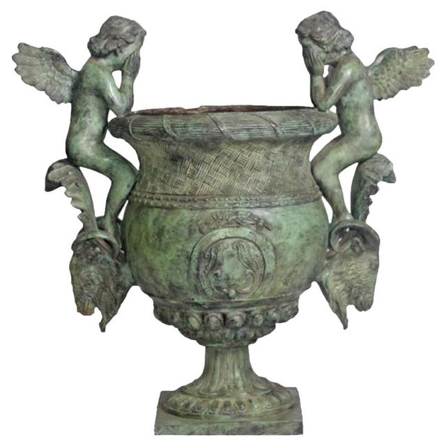Metal Classical Style Cast Bronze Verde Patina Urn With Two Cupids and Rams' Heads For Sale - Image 7 of 7