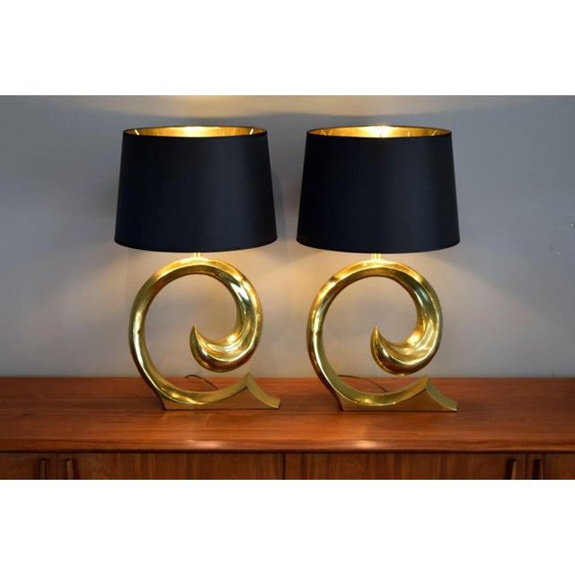 Metal Solid Brass Swoosh 'Pierre Cardin' Lamps by Erwin Lambeth - a Pair For Sale - Image 7 of 12