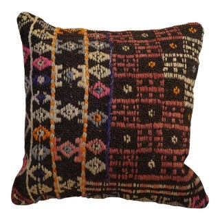 Boho Chic Style Square Kilim Pillow - 14 X 14 For Sale