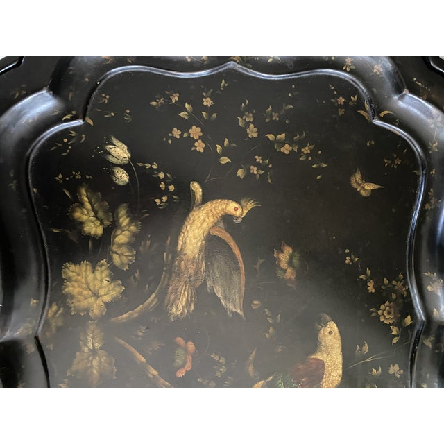 English Tray Top Table With Hand Painted Parrots For Sale - Image 9 of 13