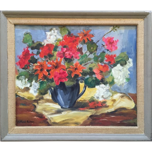 1950s Clifford Holmes Floral Still Life For Sale